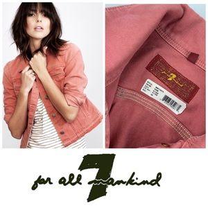 7FAM NWOT Salmon Pink  Denim  Jean Jacket